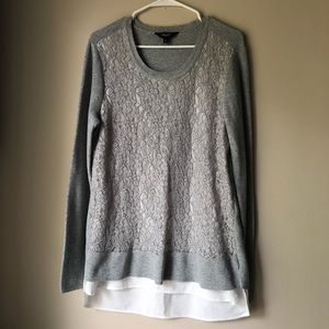 Simply Vera Gray Front Lace Overlay Sweater